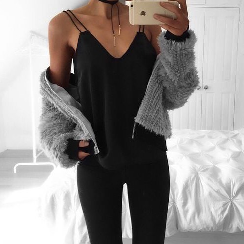 How To Wear Fluffy Grey Cardigan With Black Slip Tank Top And Black Skinnies 2020