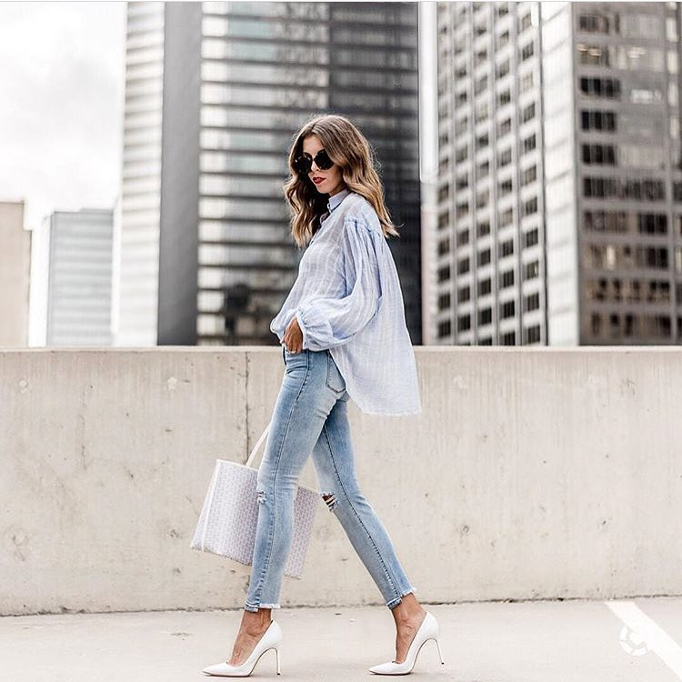 How To Wear Pinstripe Linen Oversized Blouse This Summer 2019