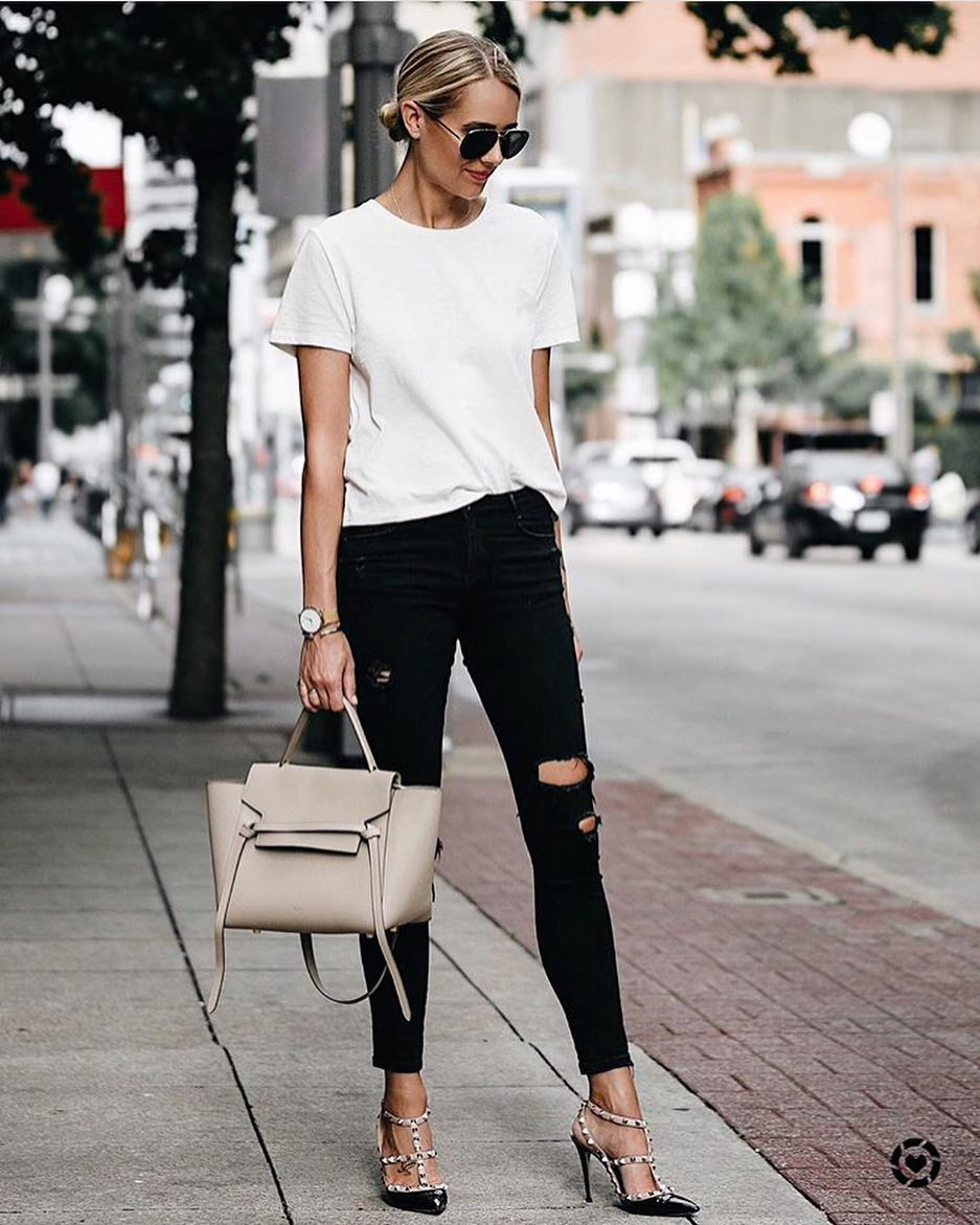 How To Wear Caged Studded Heeled Pumps With Ripped Black Jeans And White Top 2019