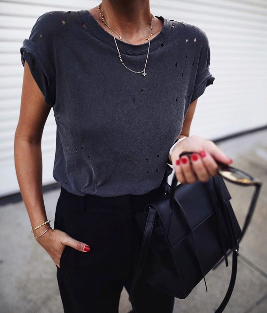 How To Wear Charcoal Ripped T-Shirt With Black Tailored Pants 2019