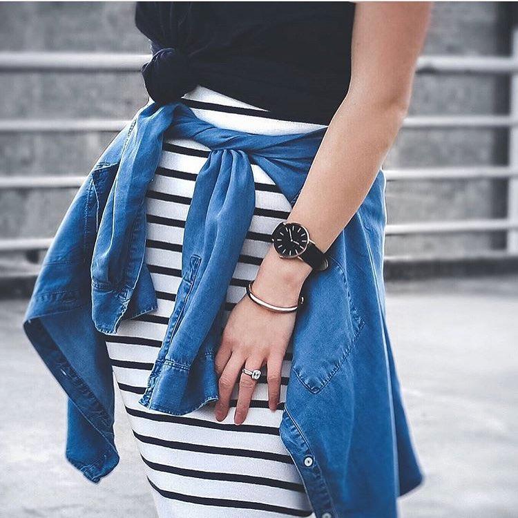 How To Wear Denim Shirt Tied Around Striped Pencil Skirt 2019