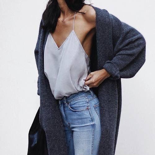 OOTD: Grey Wool Robe Cardigan Over Spaghetti Strap Slip Tank Top Tucked In Skinnies 2019