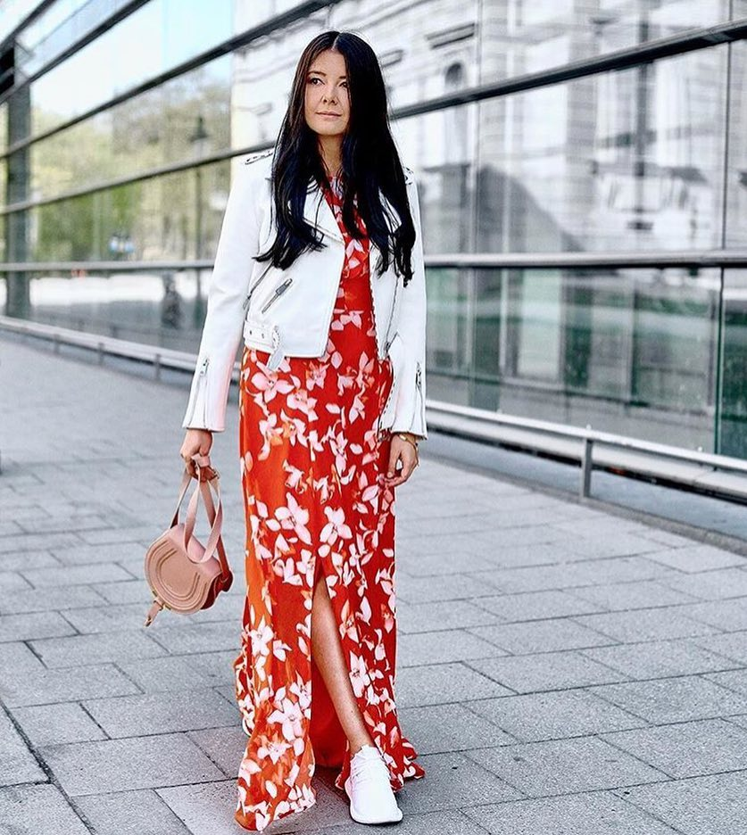 How To Wear White Leather Jacket With White Floral Red Maxi Dress 2020