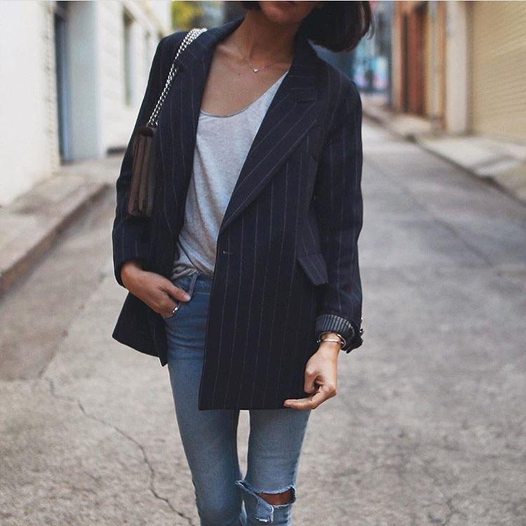 How To Wear Oversized Black Pinstripe Blazer With Ripped Skinny Jeans 2020
