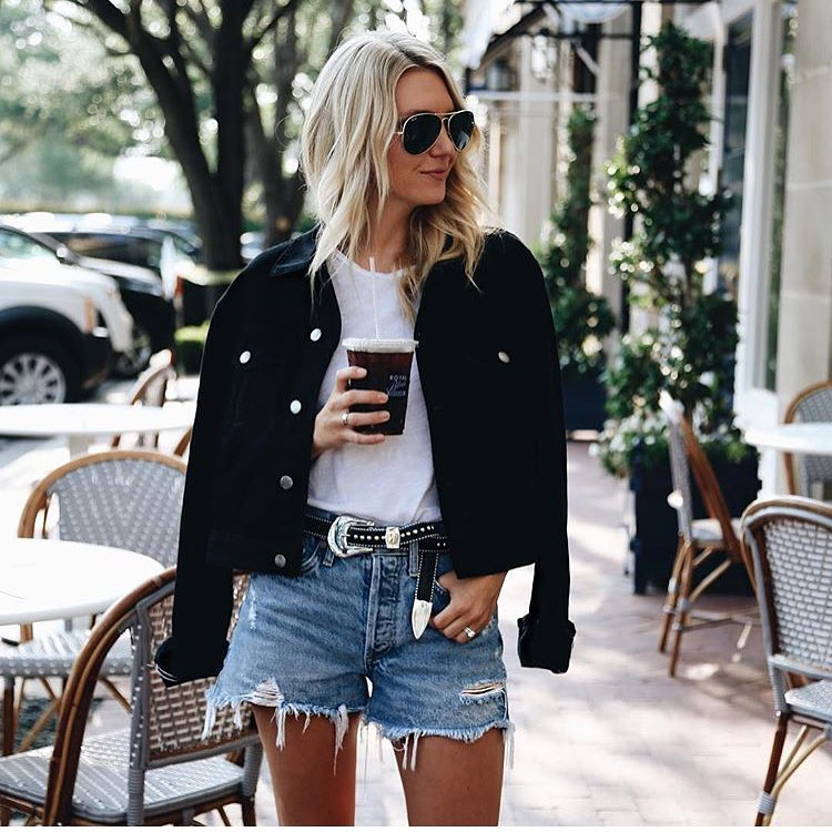 How To Wear Black Velvet Jacket With White Tee And Blue Ripped Denim Shorts 2019