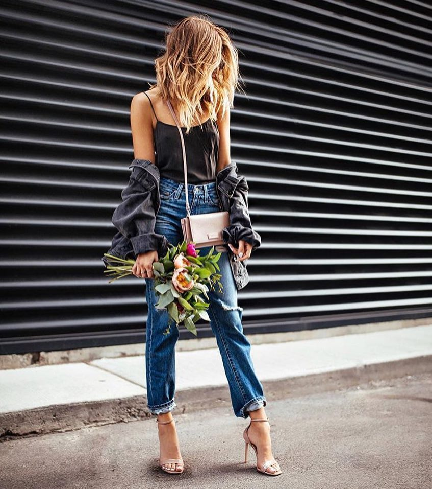 How To Wear Ripped Boyfriend Jeans With Black Silk Slip Tank Top And Blush Heels 2019