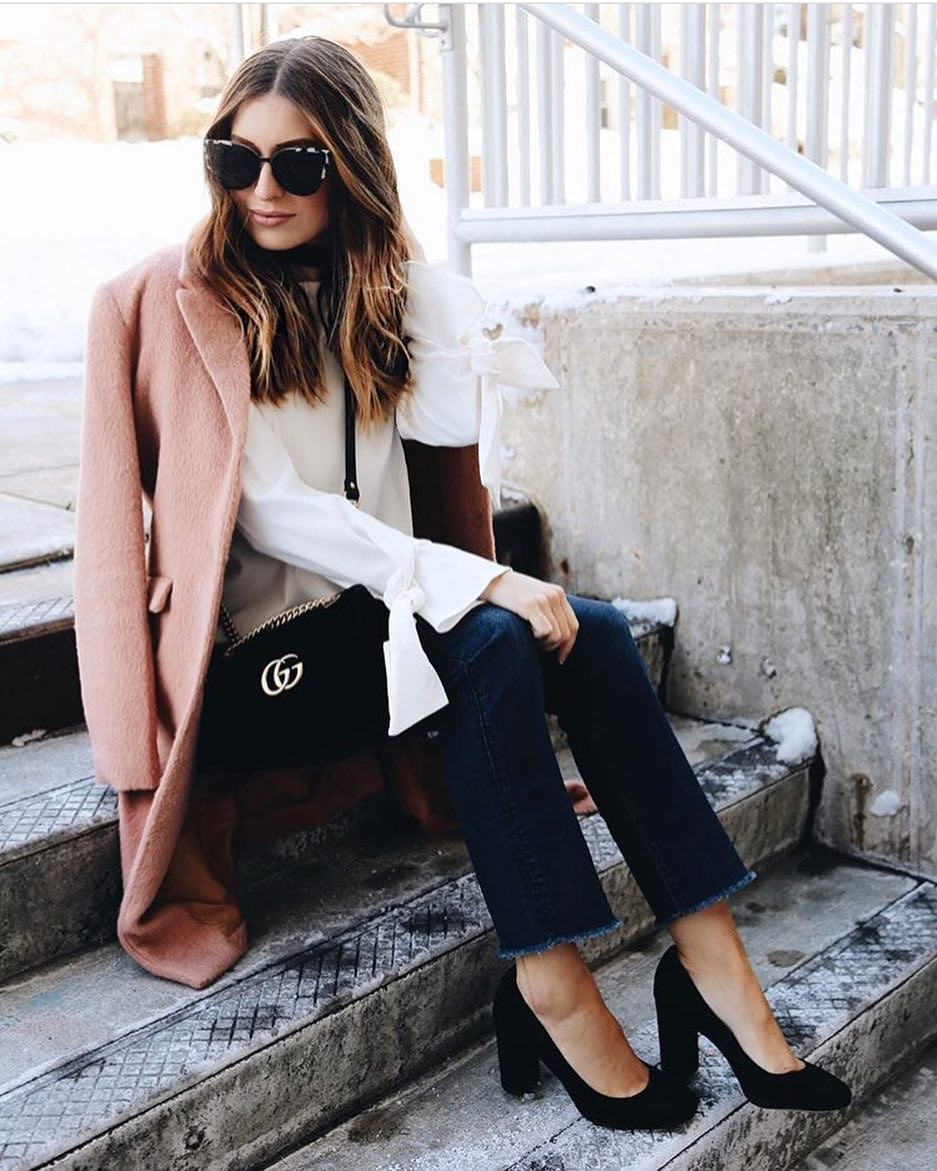 How To Wear Blush Wool Coat With White Blouse Dark Blue Slim Jeans And Block Heels 2019