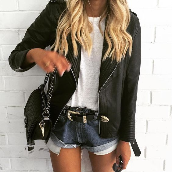 How To Wear Black Leather Jacket With White Tee And Denim Shorts 2020