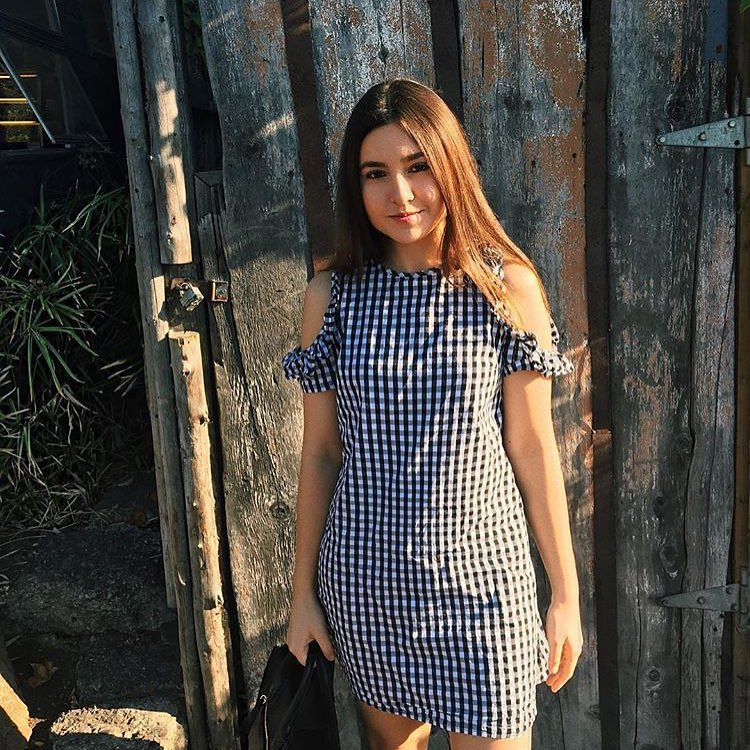 How To Wear Black-White Gingham Cold Shoulder Dress 2020