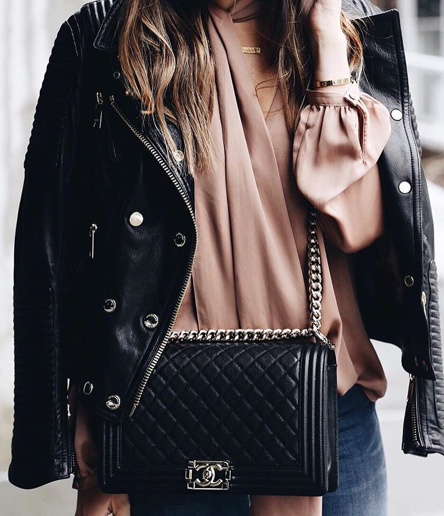 How To Wear Black Leather Jacket With Blush Silk Blouse And Blue Skinnies 2020