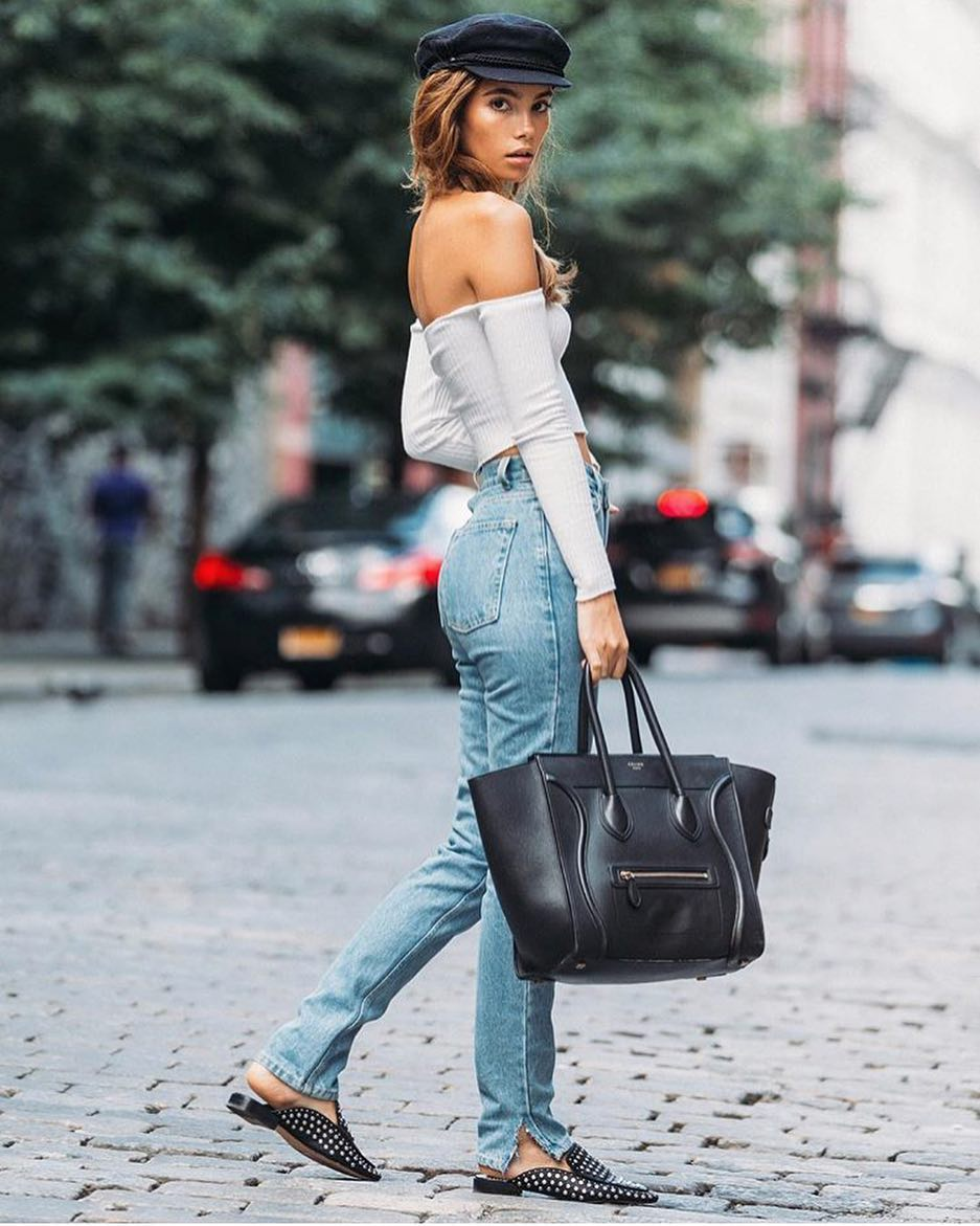 City Casual: Off Shoulder Crop Top With High Waist Jeans, Driver Cap And Backless Mules 2020