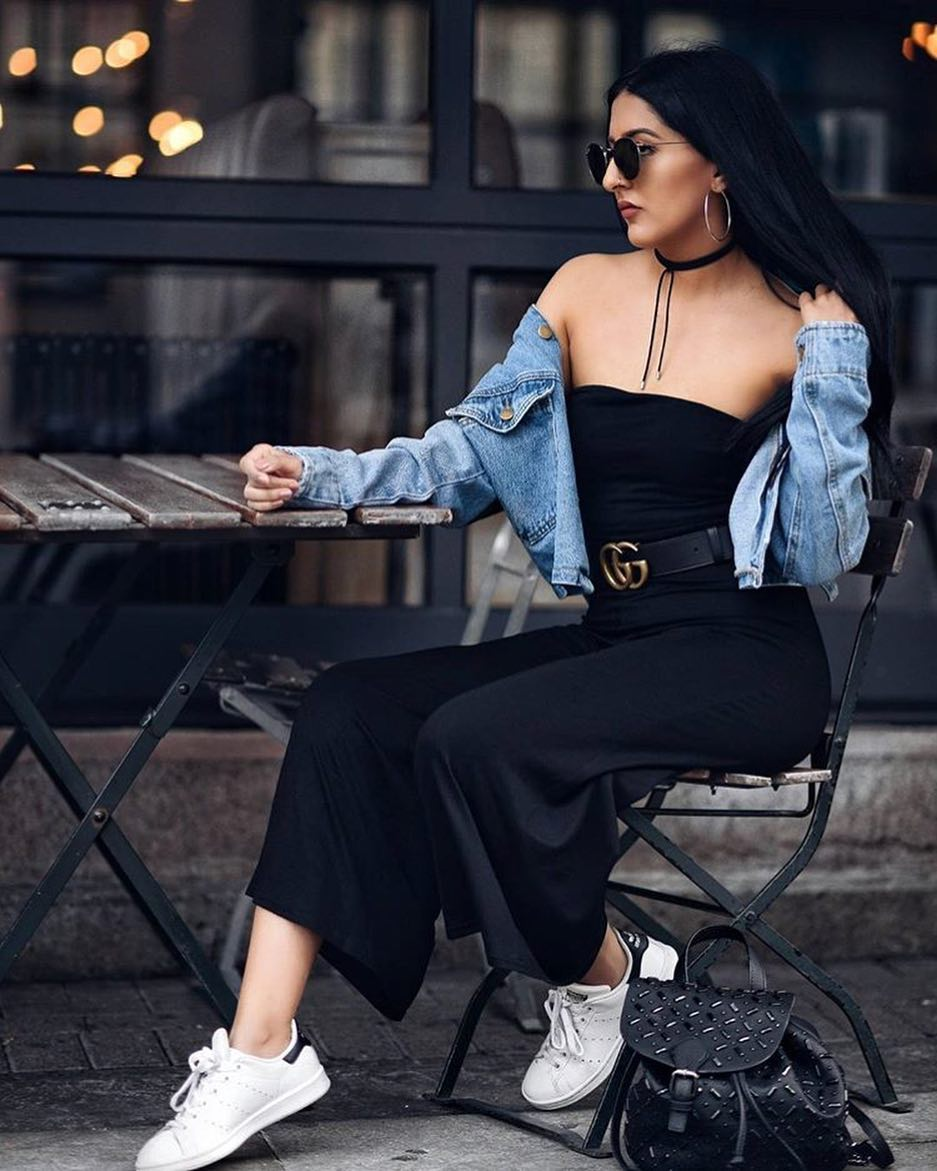 How To Wear Strapless Wide Leg Pants Black Jumpsuit With Denim Jacket And White Kicks 2020