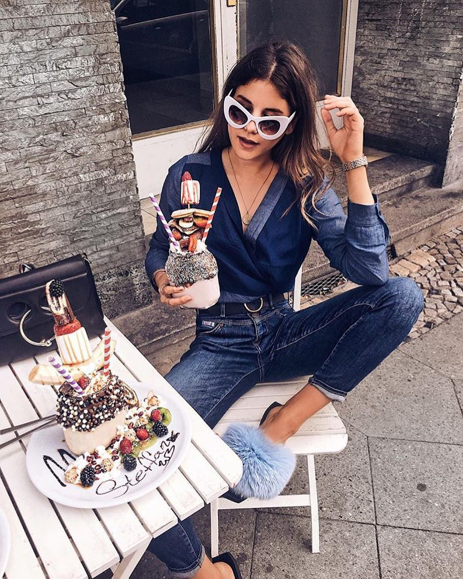 How To Wear Double Denim Look With Fluffy Slides 2019