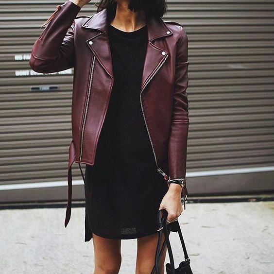 OOTD: How To Style Dark Maroon Leather Jacket With Little Black Dress 2019