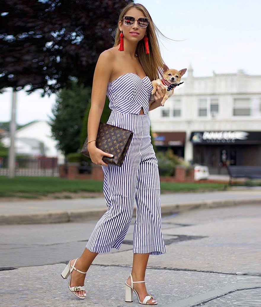 How To Wear Pinstripe Strapless Jumpsuit With White Block Heel Sandals 2020