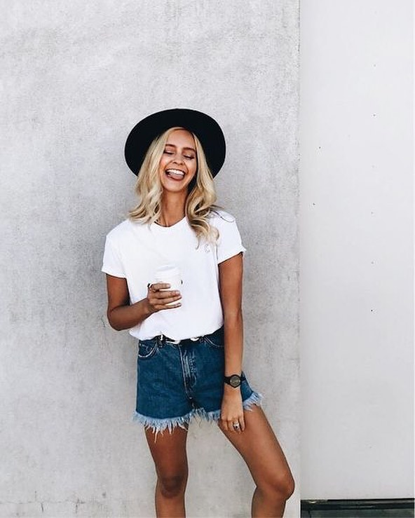 Summer Casual Combination: Frayed Denim Shorts With White Tee And Wide Brim Black Hat 2019