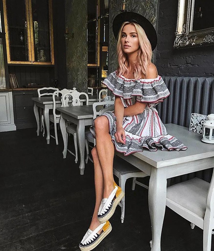 How To Wear Off Shoulder Ruffle Dress With Black Fedora And Espadrille Slip On Shoes 2020