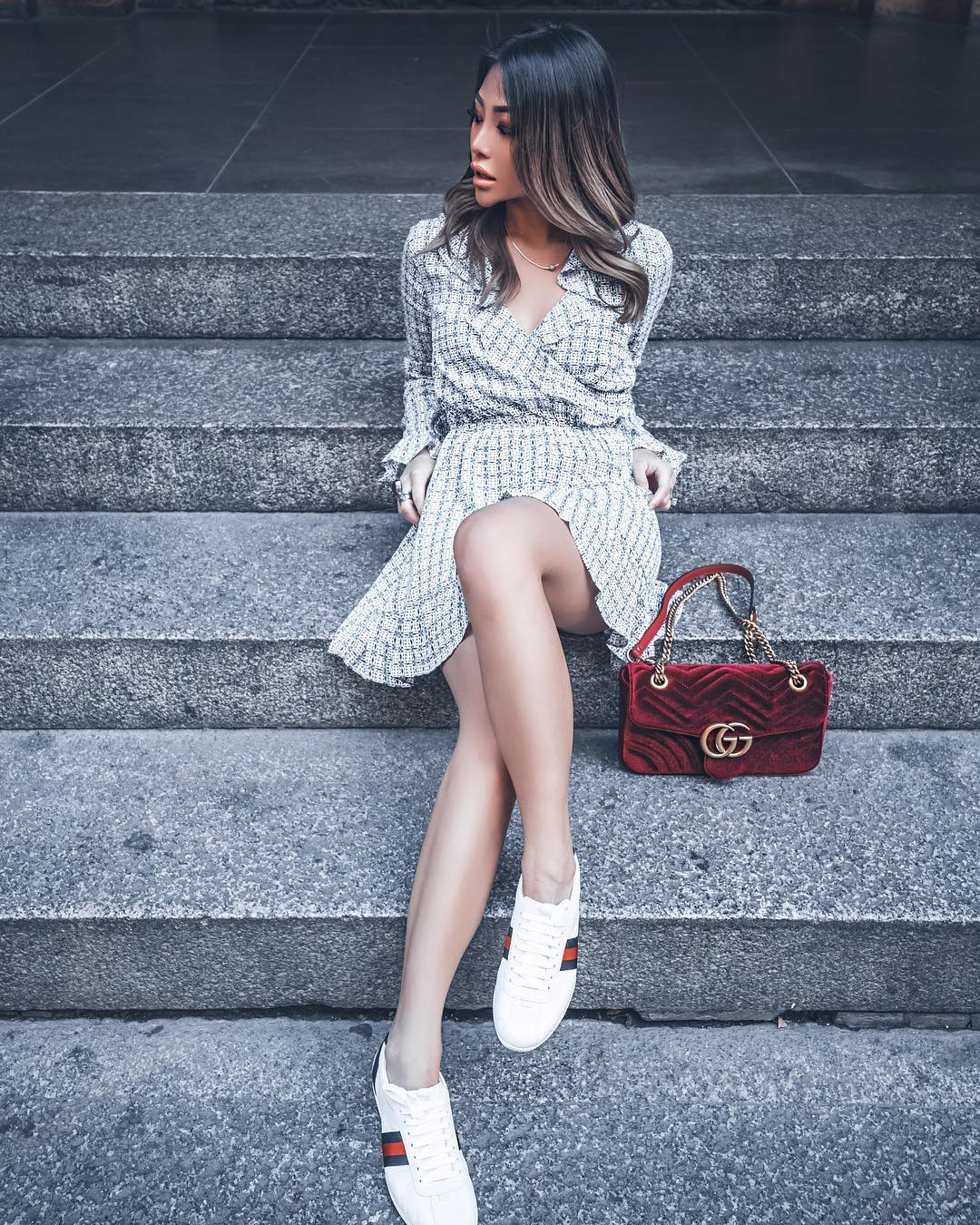 Casual Office Style: Plaid Ruffle Wrap Dress With White Sneakers And Maroon Clutch Bag 2020