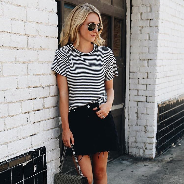 Grunge Summer Look: Aviator Shades, Striped T-Shirt And Black Denim Skirt 2019