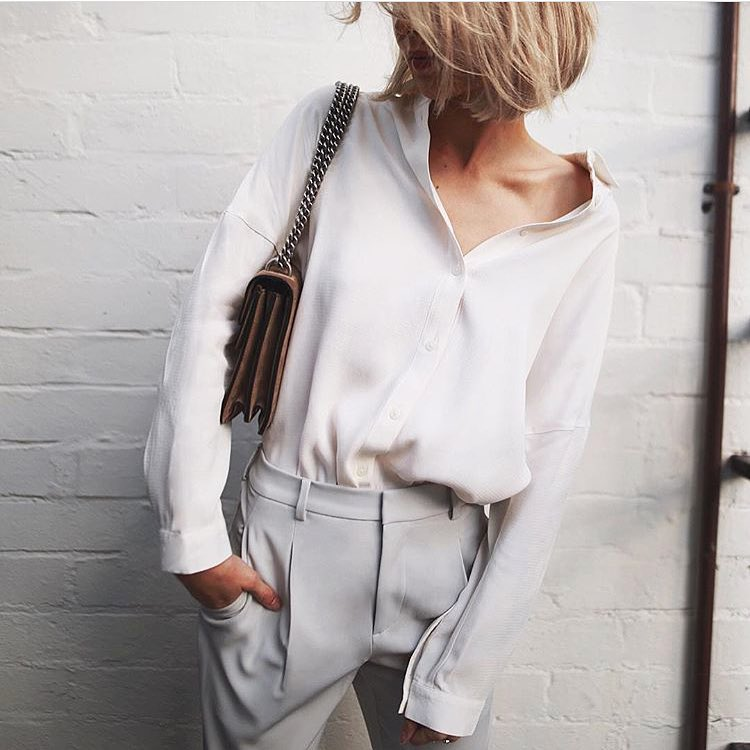 How To Wear Cream White Relaxed Fit Shirt With Light Grey Pants 2019