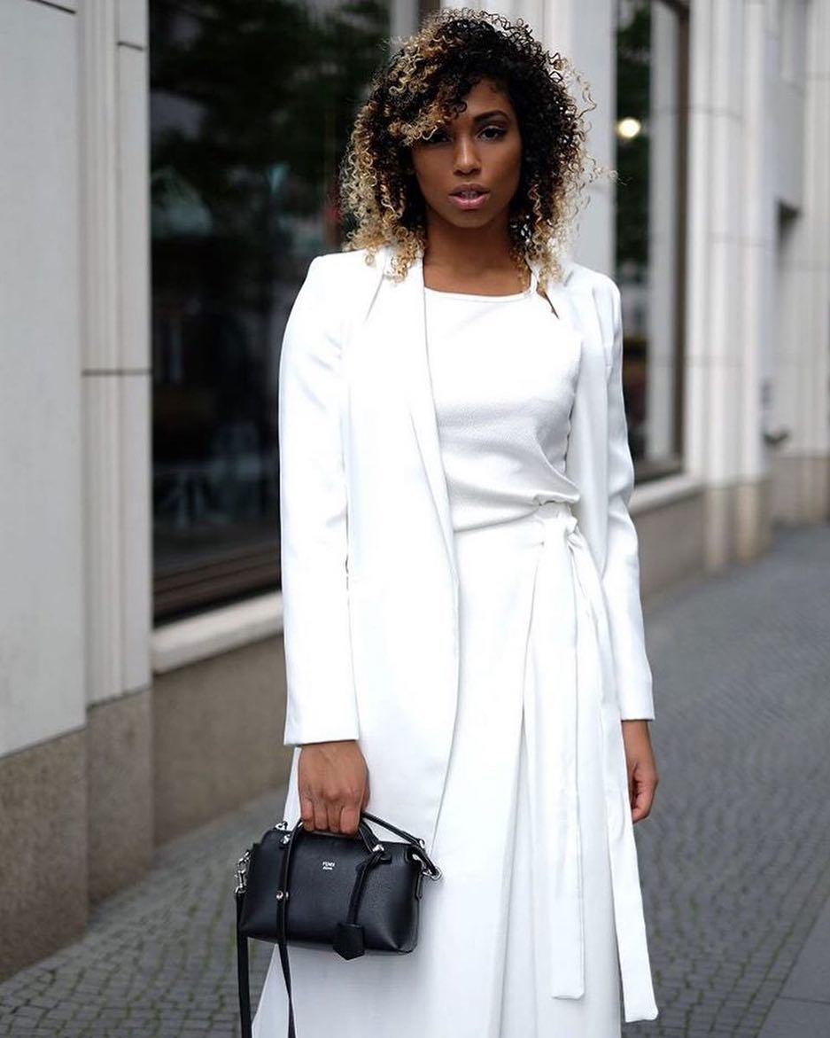 Summer All in White: White Blazer, White Top And Belted White Long Skirt 2020