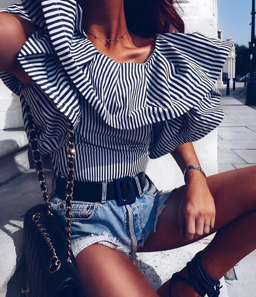 Vacation Trip Look: Puff Ruffle Neck Blouse In White-Black Stripes And Denim Shorts 2020