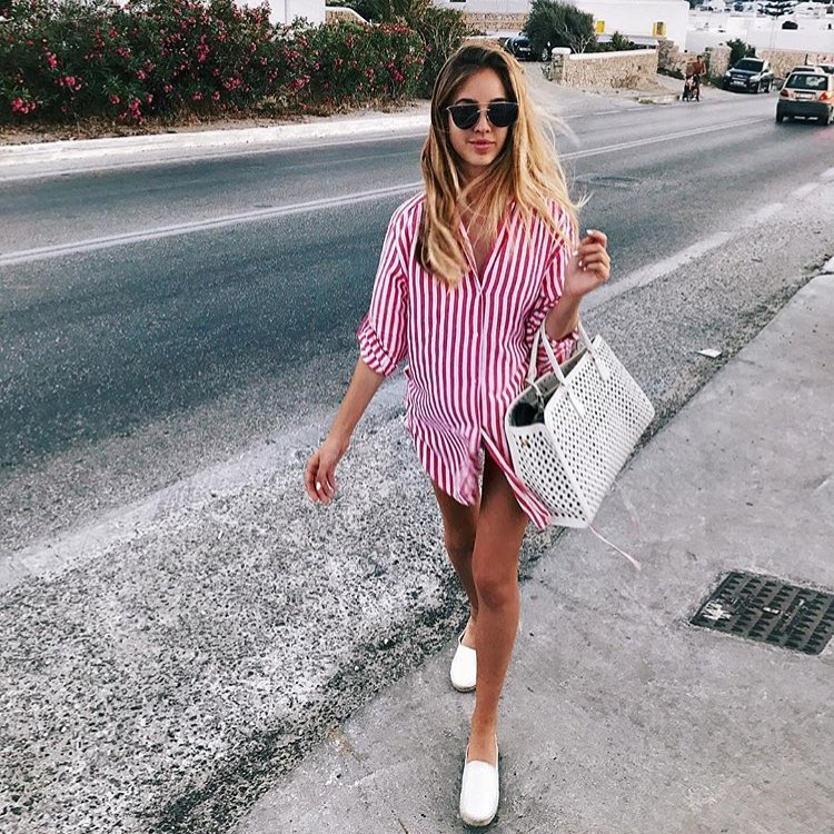Summer Casual Outfit: Pinstripe Shirtdress And White Slip On Shoes 2019