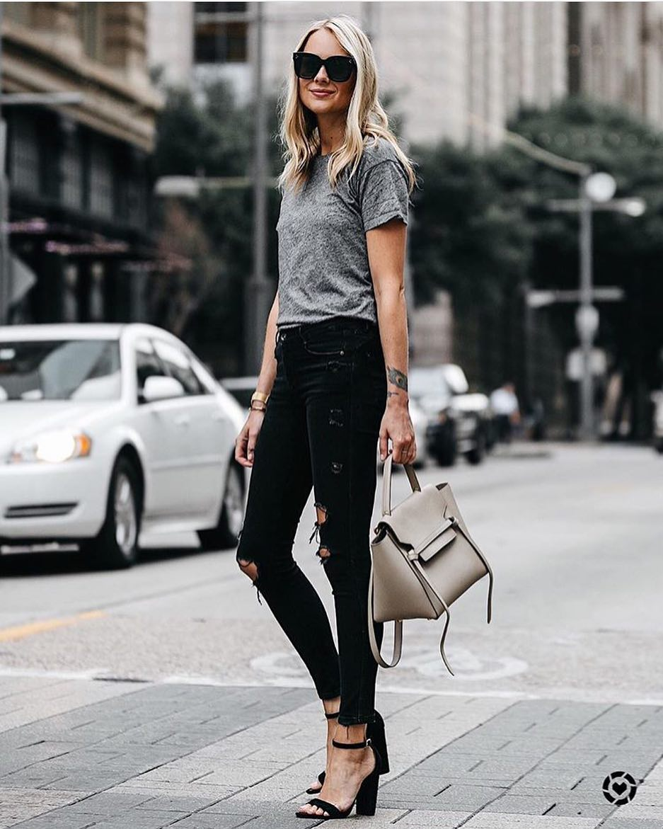 4d3442ff65 How To Wear Black Block Heel Sandals With Black Ripped Skinny Jeans And  Grey Tee 2019