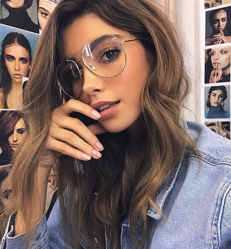 Denim Jacket And Aviator Eyeglasses: Simple Day Look 2019