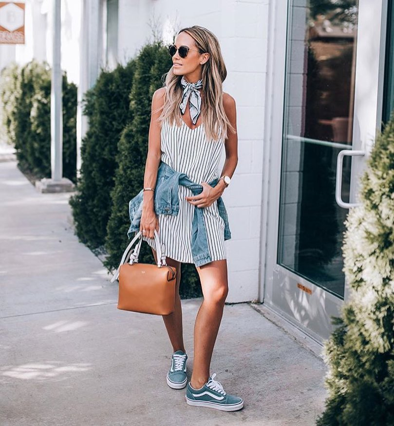How To Tie Denim Jacket Around Pinstripe Dress In Summer 2021