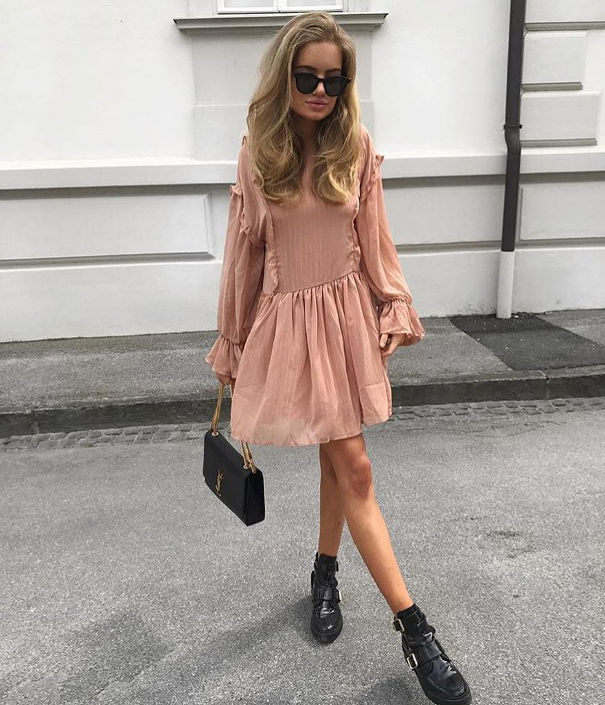 Blush Retro Style Dress And Black Chunky Ankle Boots 2019