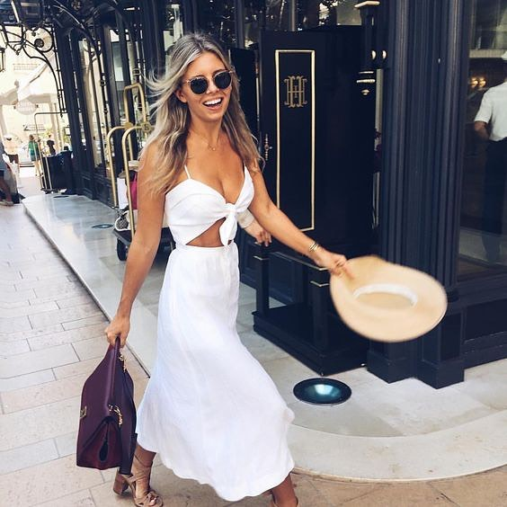 Summer White Co-Ordinate Set: Front Tied Top And Midi Skirt 2021