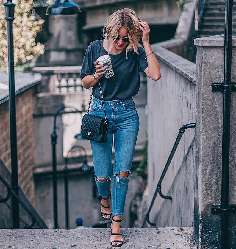 Street Casual Basics: Grey T-Shirt Tucked In Knee-Ripped Jeans 2019
