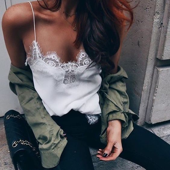 How To Wear Khaki Green Shirt With White Spaghetti Strap Slip Tank Top With Lace Inserts 2019