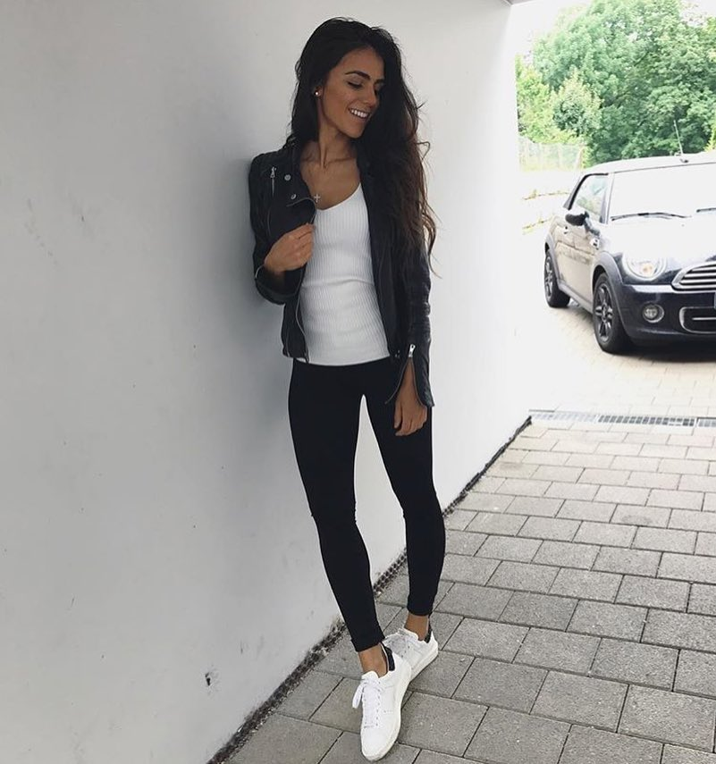 How To Wear White Knitted Top With Black Leather Jacket, Black Leggings And White Kicks 2019