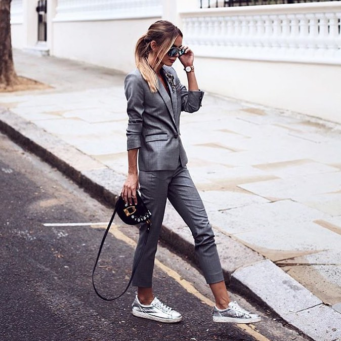 How To Style Grey Pantsuit With Silver Metallic Sneakers