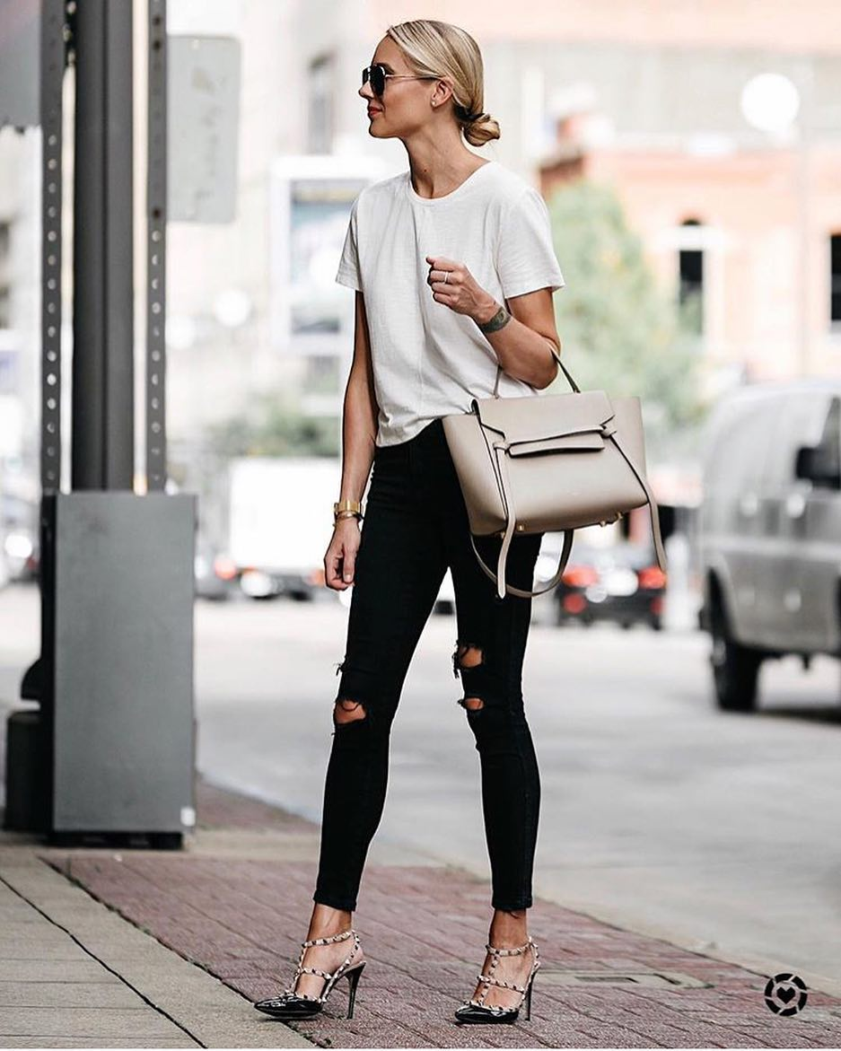Best Way To Wear Studded Caged Heel Pumps With White Tee And Black Skinnies 2019