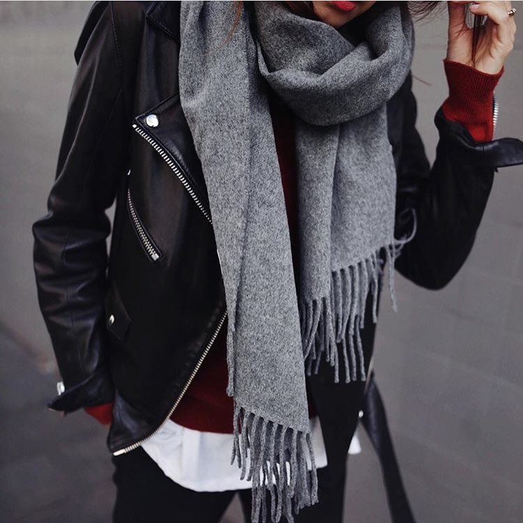 How To Style Grey Wool Scarf With Black Leather Jacket And Dark Red Sweater 2020