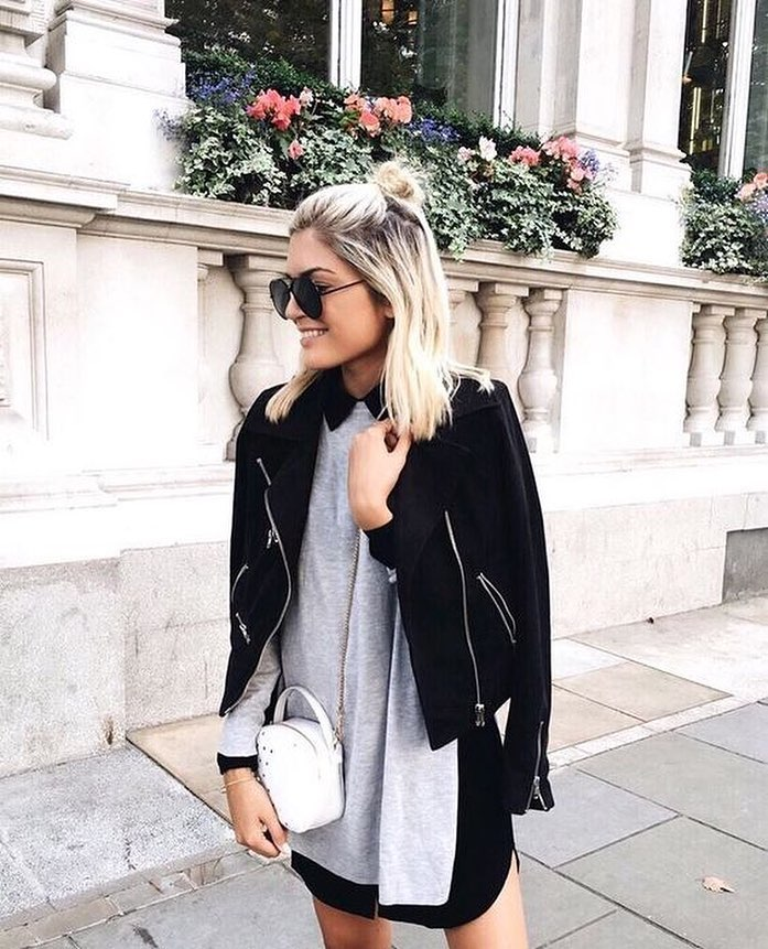 Spring Layering: Black Suede Jacket, Grey Pullover And Black Shirtdress 2019