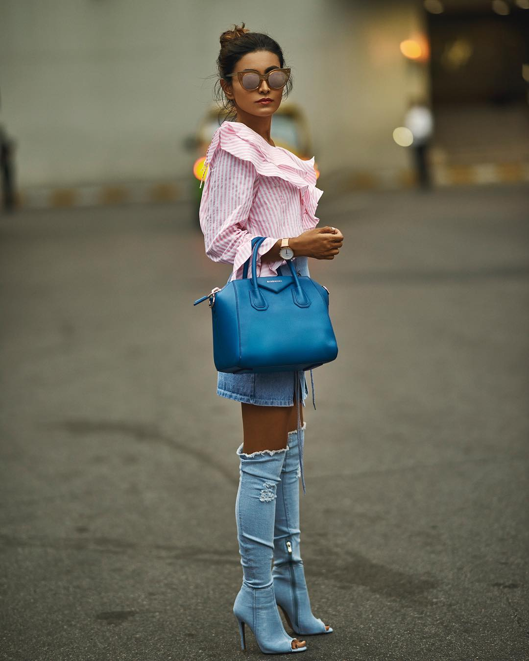 How To Wear OTK Denim Peep Toe Boots With Denim Skirt And Pink White Striped Blouse 2019