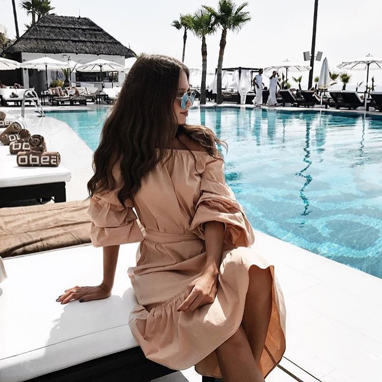 Summer Outfit Idea: Beige Off Shoulder Dress With Puff Sleeves 2021