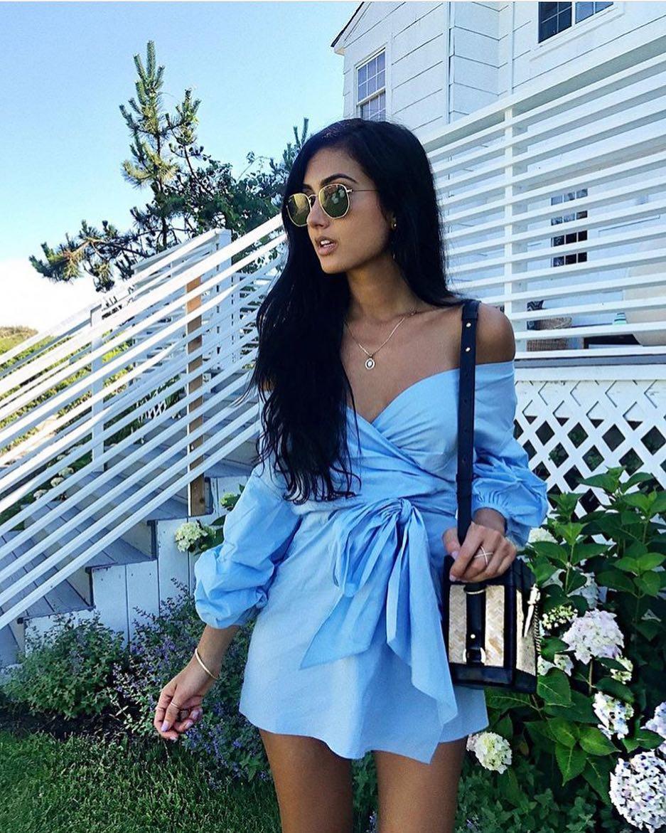 Hot Summer Outfit Idea: Blue Front Tied Wrap Off Shoulder Dress 2020