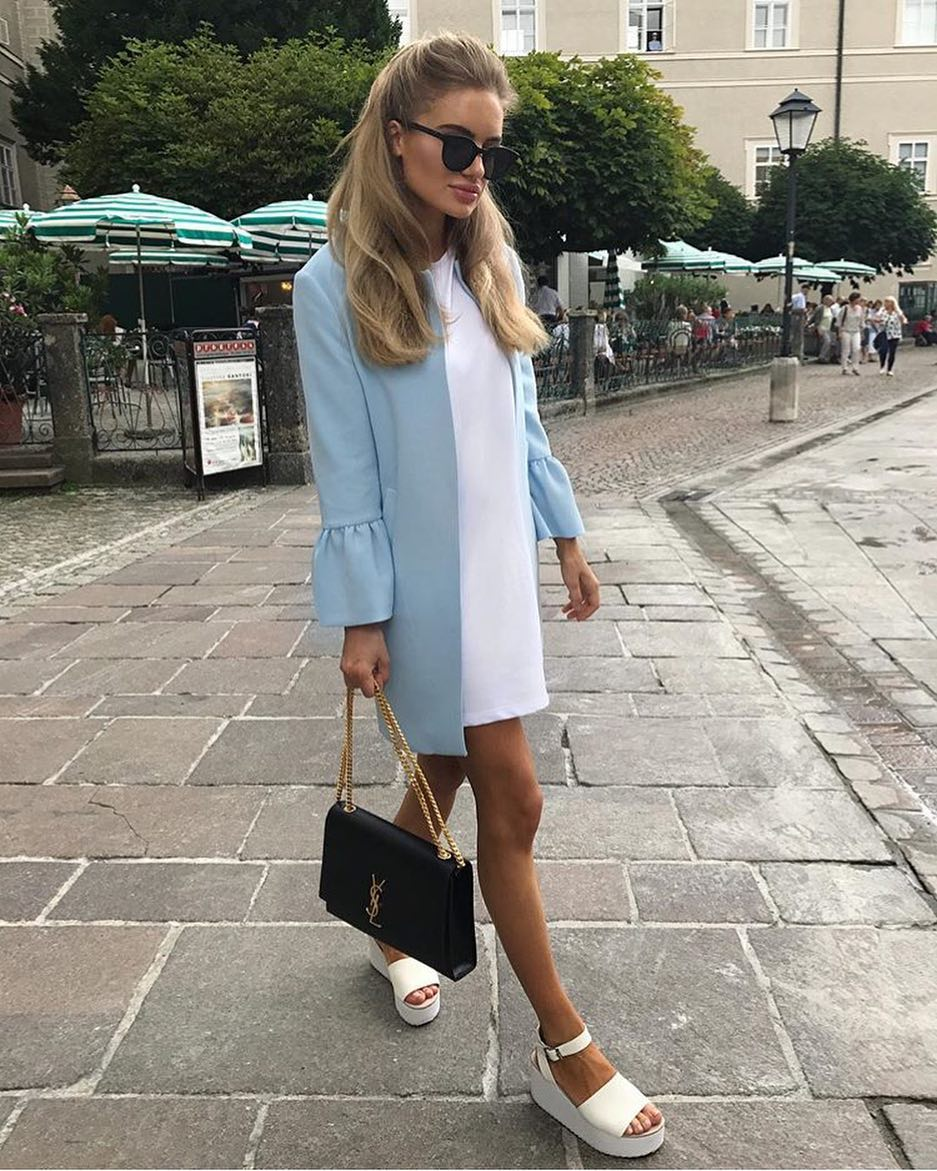 How To Wear Pastel Blue Coat With Bell Sleeves Styled With White Shift Dress 2019