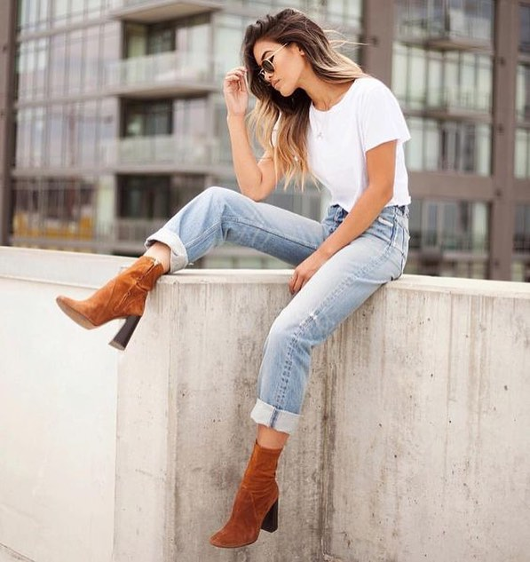 How To Wear Brown Suede Sock Ankle Boots With Cuffed Jeans And White Tee 2019