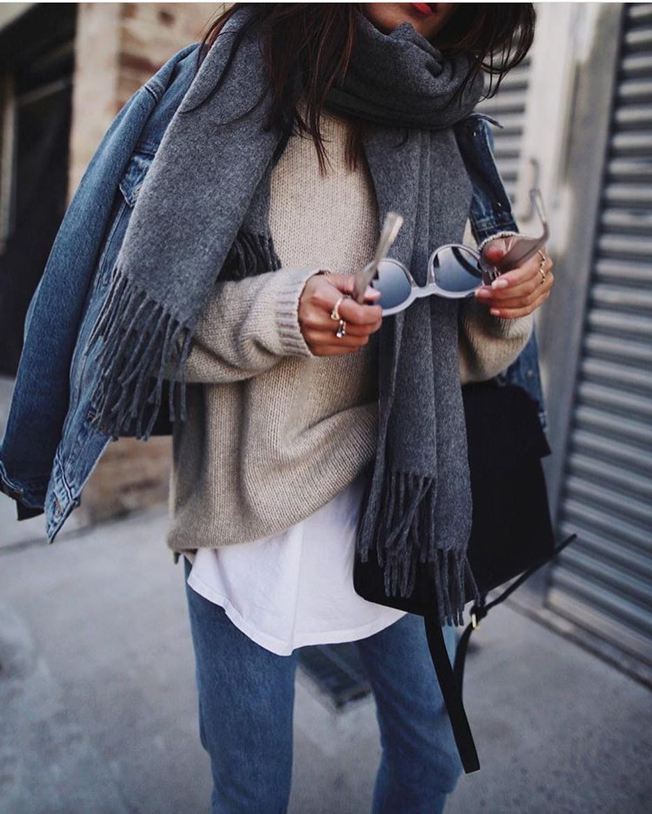 Fall Layered Outfit Idea: Denim Jacket, Wool Grey Scarf, Beige Sweater, White Tee And Jeans 2020
