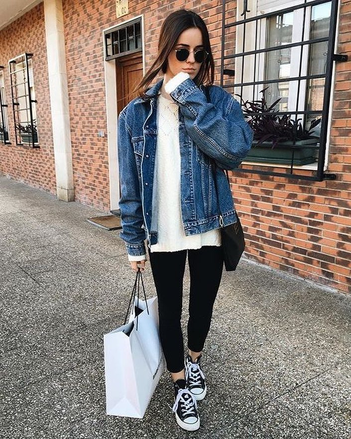 How To Wear Oversized Denim Jacket With White Sweater 148638773