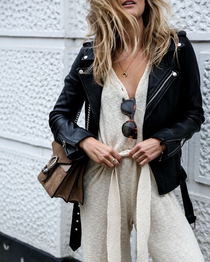 How To Wear Cream White Knitted Jumpsuit With Black Leather Biker Jacket 2020