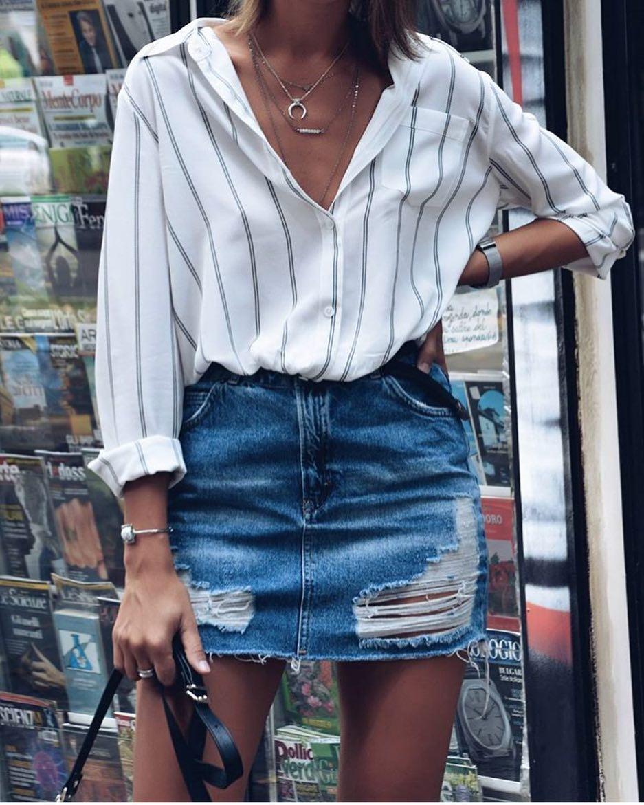 How To Wear Pinstripe White Shirt With Ripped Denim Mini Skirt 2020