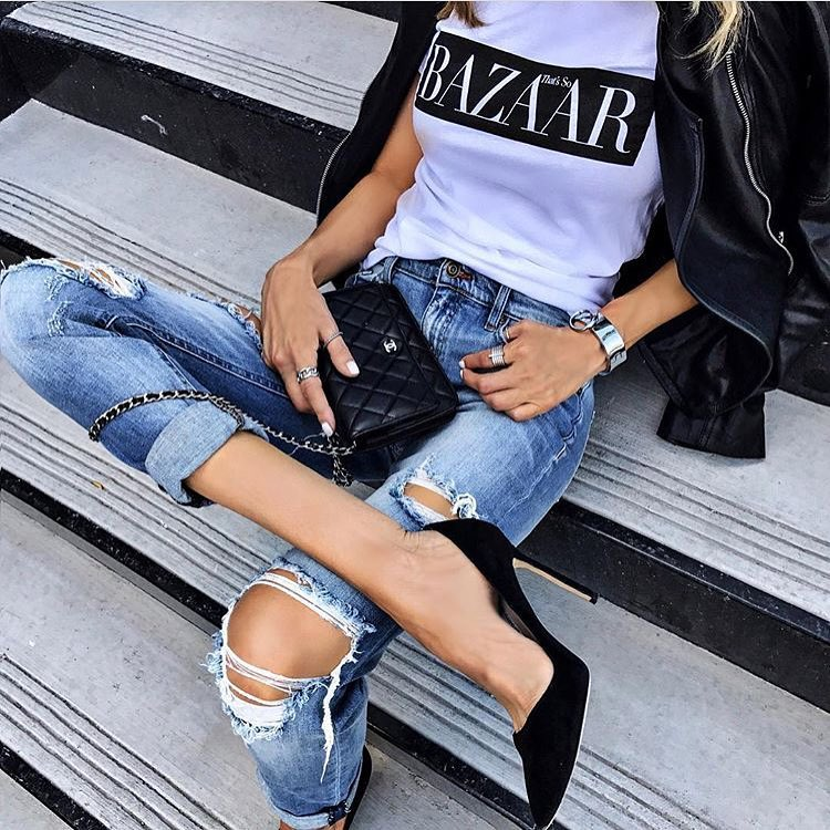 How To Wear Black Heels With Ripped Jeans, White Tee And Black Leather Jacket 2020