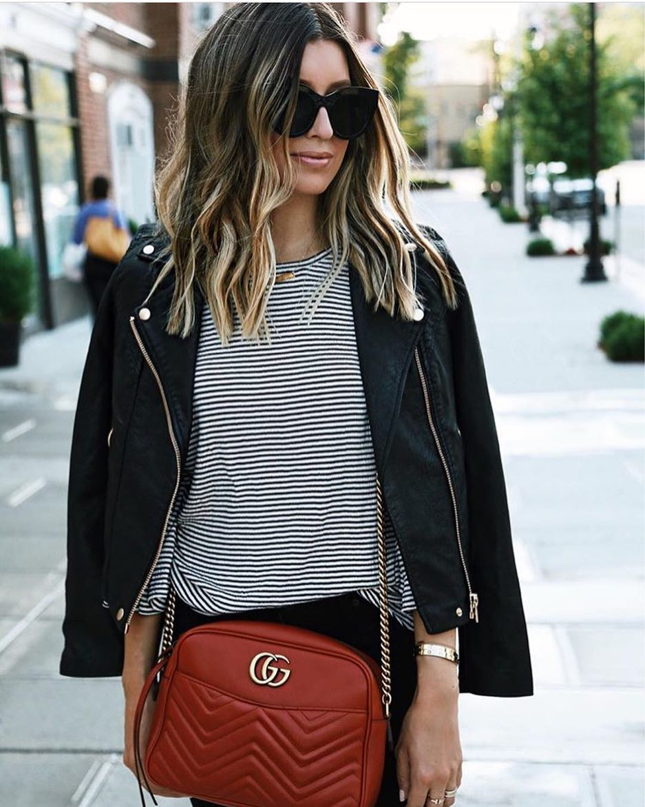 Parisian Chic Style: Black Leather Jacket, Striped Top, Black Skinnies And Oversized Sunglasses 2019